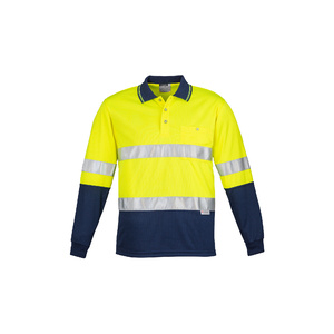SYZMIK Mens Hi Vis Spliced Polo - Long Sleeve Hoop Taped ZH235