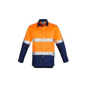 SYZMIK Mens Hi Vis Spliced Industrial Shirt - Hoop Taped ZW123