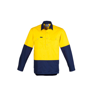 SYZMIK Mens Hi Vis Closed Front L/S Shirt ZW560