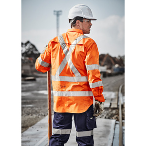 SYZMIK Mens Hi Vis X Back Taped Shirt ZW690