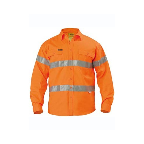 Hi Vis 3M Reflective Tape Mens Drill Long Sleeve Shirt Orange XS BT6482_BVEO