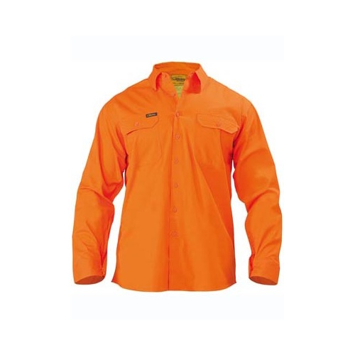 Mens Cool Lightweight Gusset Cuff Hi Vis Drill Shirt - Long Sleeve Orange S BS6894_BVEO