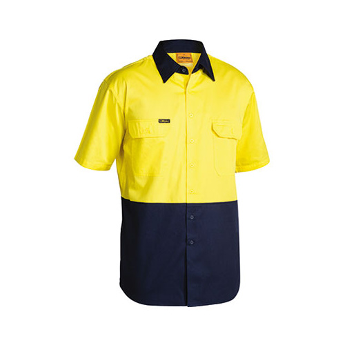 2 Tone Cool Lightweight Drill Shirt - Short Sleeve Yellow/Navy S BS1895_TT01