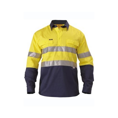 2 Tone Closed Front Hi Vis Drill Shirt 3M Reflective Tape - Long Sleeve Yellow/Navy S BTC6456_TT01