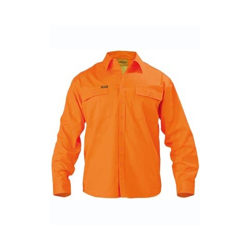 Hi Vis Mens Drill Shirt - Long Sleeve Orange S BS6339_BVEO