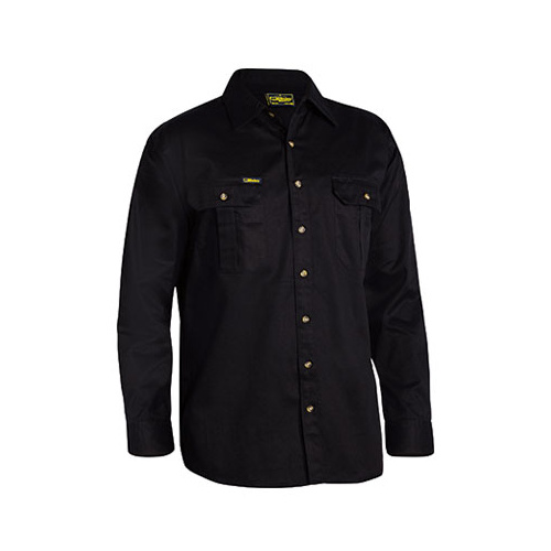 Original Cotton Drill Shirt - Long Sleeve Black S BS6433_BBLK