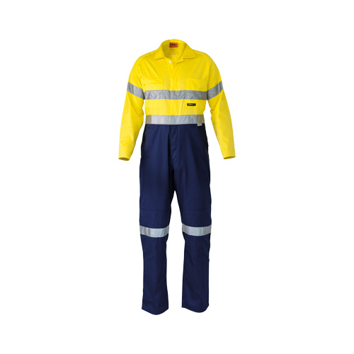 2 Tone Hi Vis Lightweight Coveralls 3M Reflective Tape Yellow/Navy 74 LNG BC6719TW_TT01