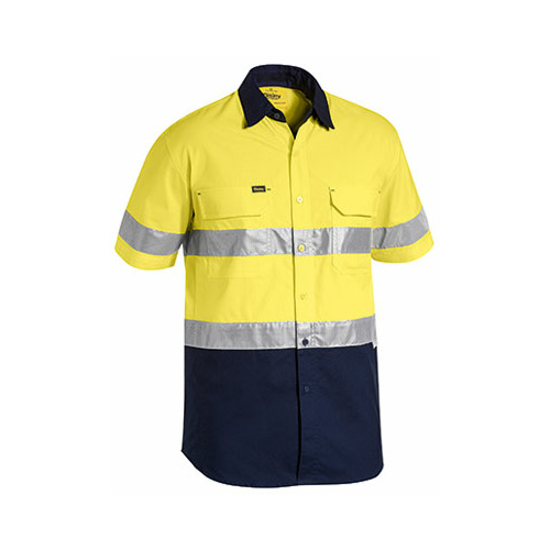 3M Taped Hi Vis X Airflow™ Ripstop Short Sleeve Shirt Yellow/Navy S BS1415T_TT01