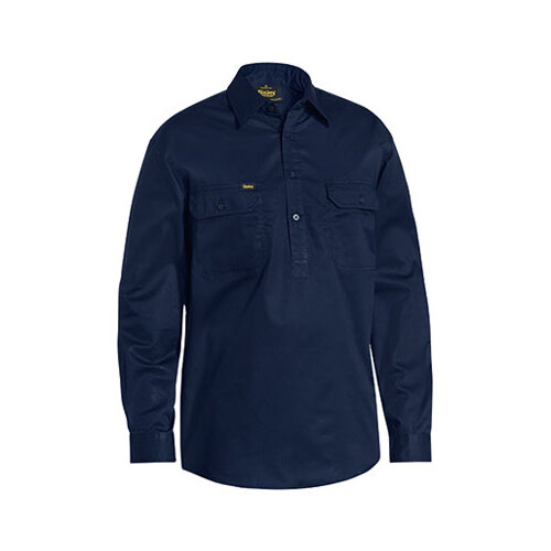 Closed Front Cotton Light Weight Drill Shirt - Long Sleeve Navy S BSC6820_BPCT