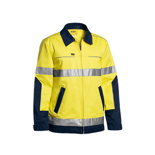 3M Taped Two Tone Hi Vis Liquid Repellent Cotton Drill Jacket Yellow/Navy XS BJ6917T_TT01