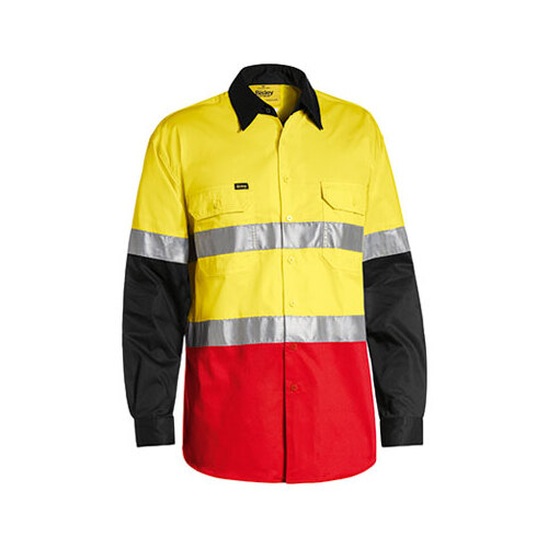 3M Taped Hi Vis Cool Light Weight Three Tone Long Sleeve Shirt Yellow/Black/Red S BS6697T_TT37