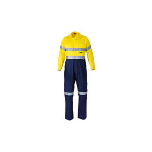 BISLEY  2 Tone Hi Vis Lightweight Coveralls 3M Reflective Tape BC6719TW