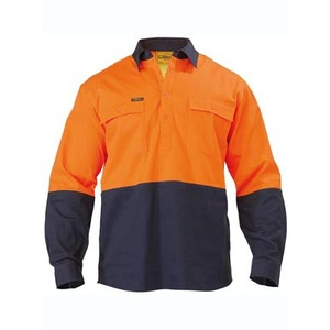 BISLEY  2 Tone Closed Front Hi Vis Drill Shirt - Long Sleeve BSC6267