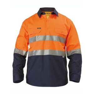 BISLEY  2 Tone Hi Vis Cool Lightweight Closed Front Shirt 3M Reflective Tape - Long Sleeve BSC6896